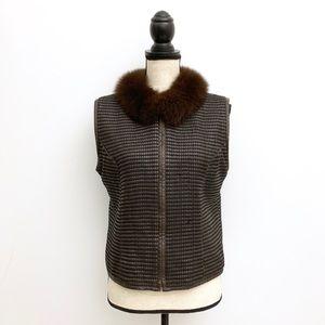 Vintage Leather Fur Collar Vest